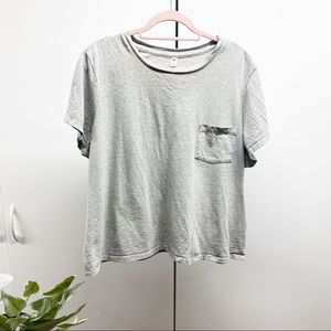 Nordstrom BP Grey Cropped Pocket T-Shirt Plus Size